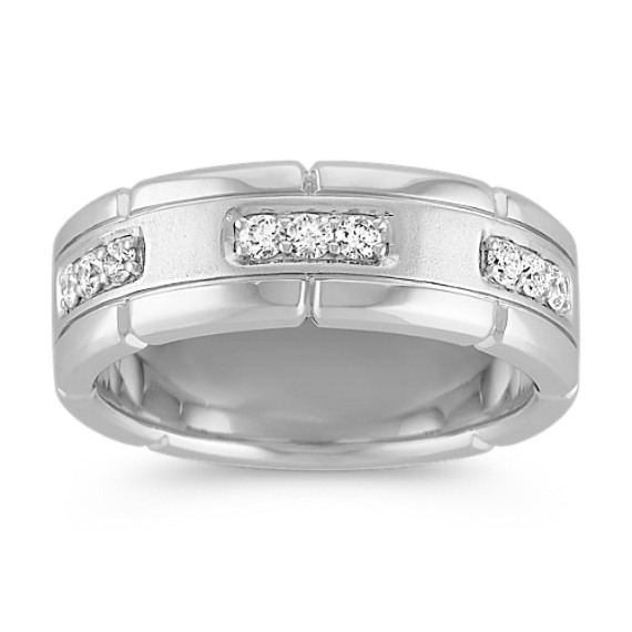 Engraved Round Diamond Ring with Pave Setting (8mm)