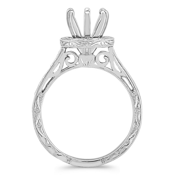 Engraved Round Halo Engagement Ring in 14k White Gold image