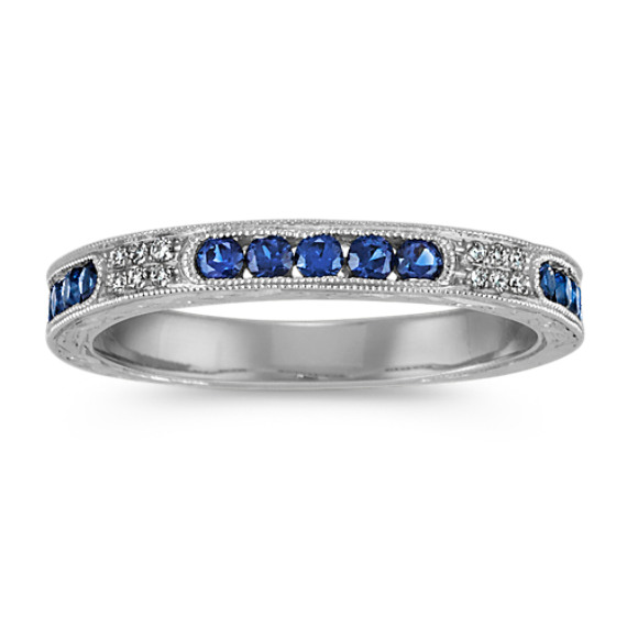 Engraved Vintage Round Diamond and Traditional Sapphire Ring