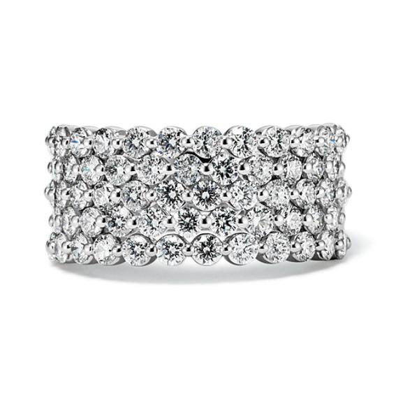 Five-Row Diamond Ring in 14k White Gold