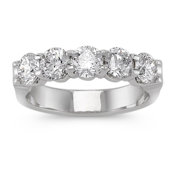 Five-Stone Diamond Wedding Band in Platinum