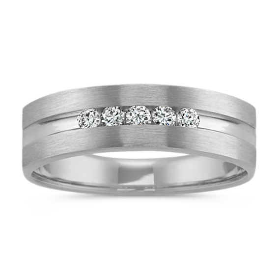 Five-Stone Round Diamond Mens Ring in 14k White Gold (6.5mm)
