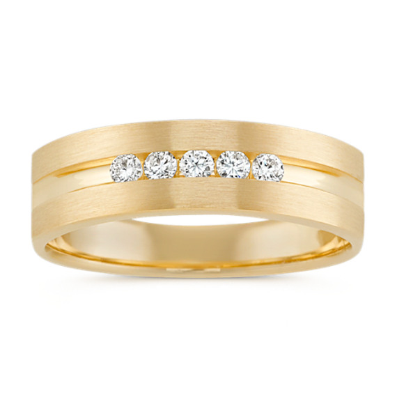 Five-Stone Round Diamond Mens Ring in 14k Yellow Gold (6.5mm)