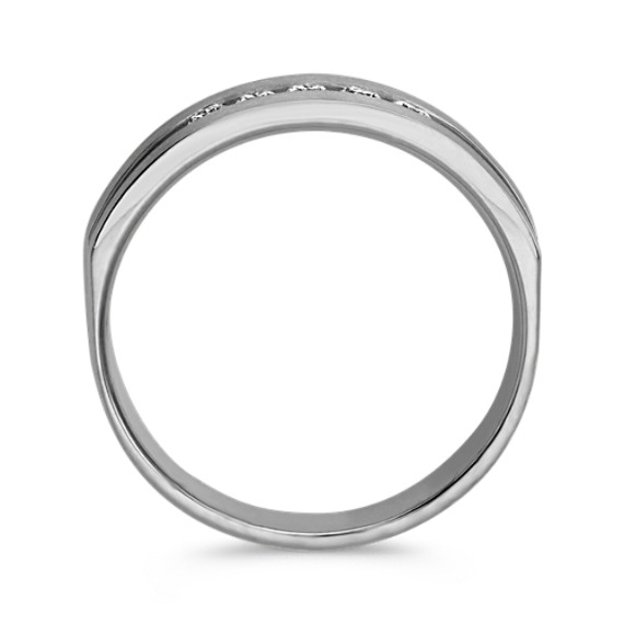 Five-Stone Round Diamond Ring in White Gold with Brushed Finish (6.5mm) image