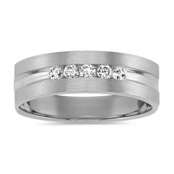 Five-Stone Round Diamond Ring in White Gold with Brushed Finish (6.5mm)