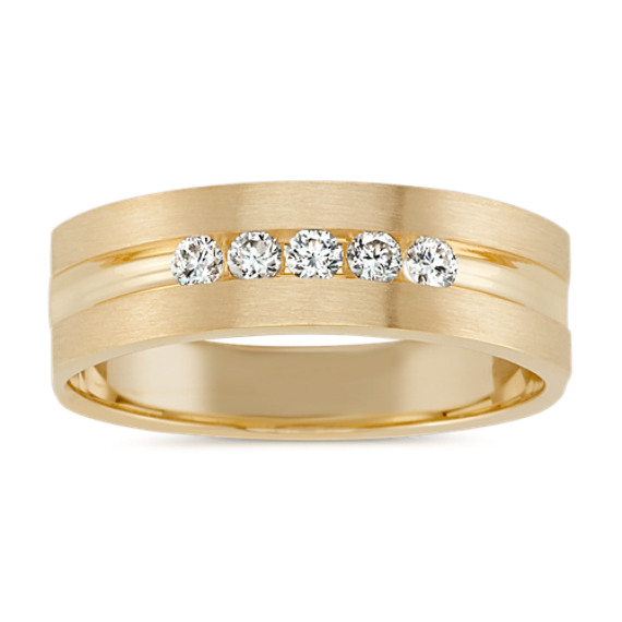 Five-Stone Round Diamond Ring in Yellow Gold with Brushed Finish (6.5mm)