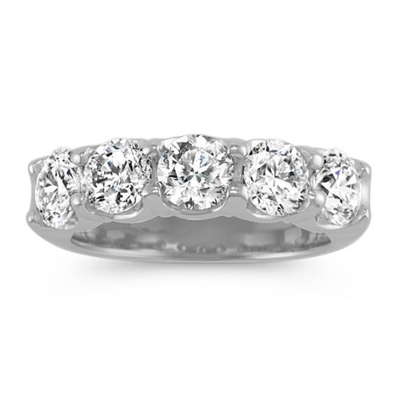 Five-Stone Round Diamond Wedding Band in 14k White Gold