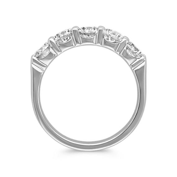 Five Stone Round Diamond Wedding Band in White Gold image