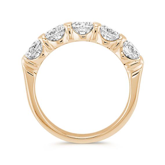 Five Stone Round Diamond Wedding Band in Yellow Gold image