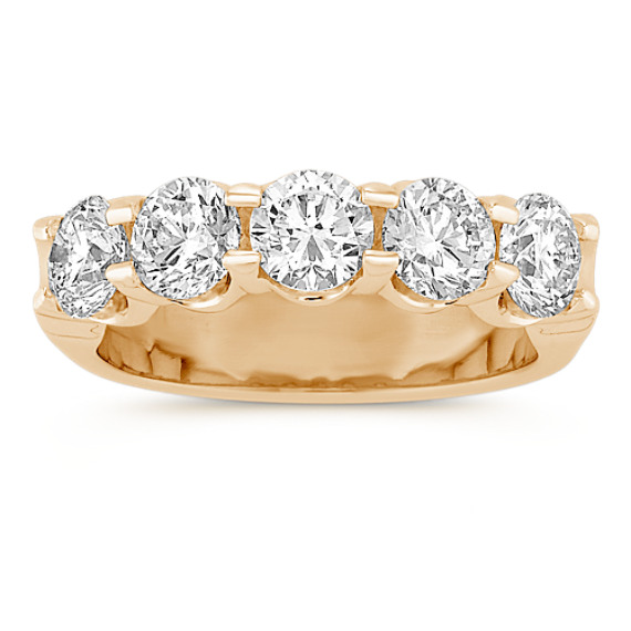 Five Stone Round Diamond Wedding Band in Yellow Gold