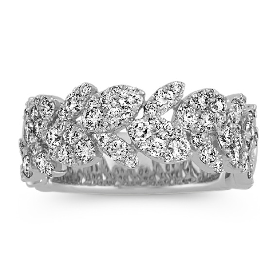 Floral Diamond Cluster Wedding Band