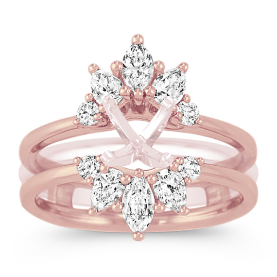 Floral Diamond Ring Guard in 14k Rose Gold