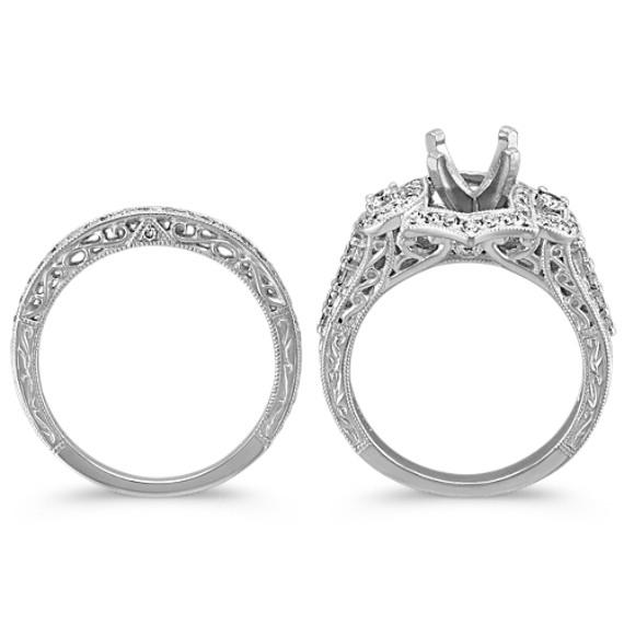 Frame Halo Platinum Wedding Set with Round Diamond Accent image
