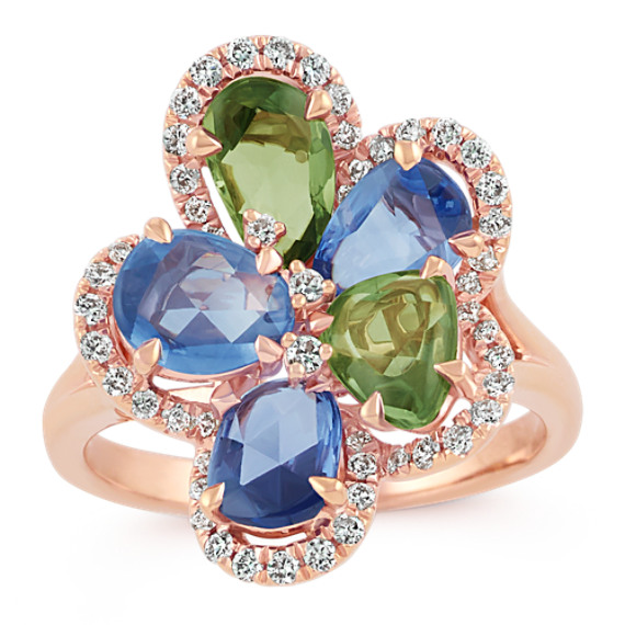 Freeform Fancy Sapphire and Round Diamond Ring in 14k Rose Gold