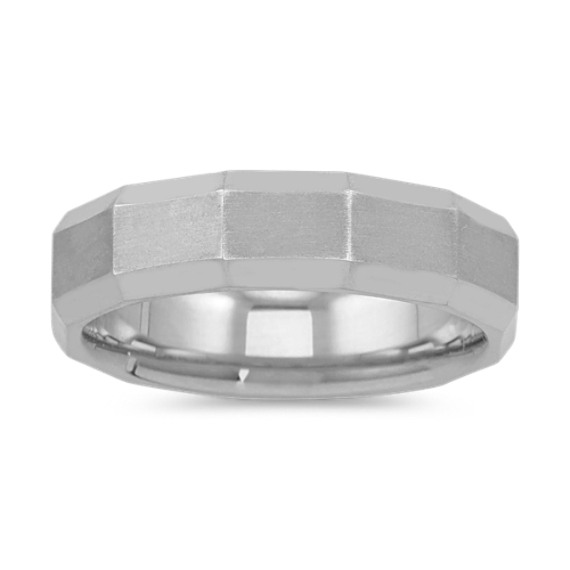 Geometric Mens Wedding Band in 14k White Gold (6mm)