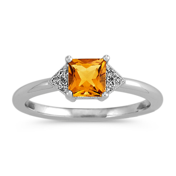Golden Citrine and Diamond Ring in 14k White Gold