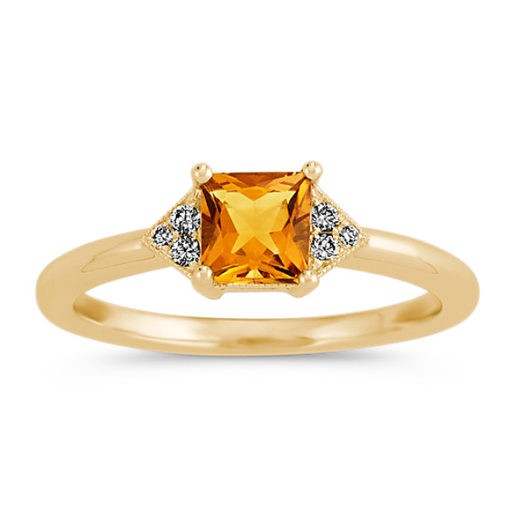 Golden Citrine and Diamond Ring in 14k Yellow Gold