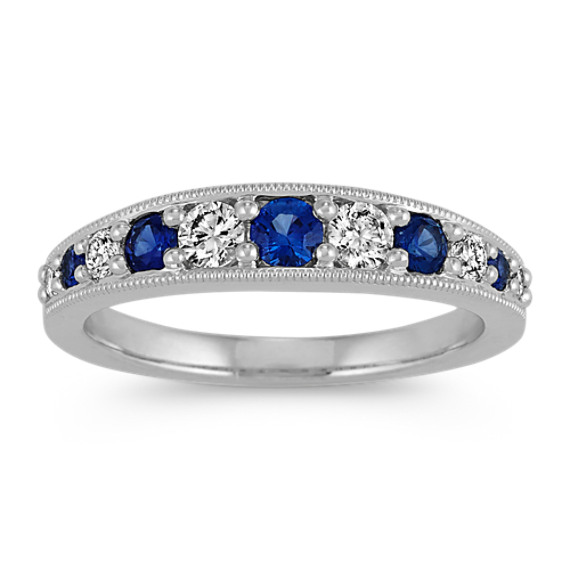 Graduated Traditional Blue Sapphires and Diamond Ring