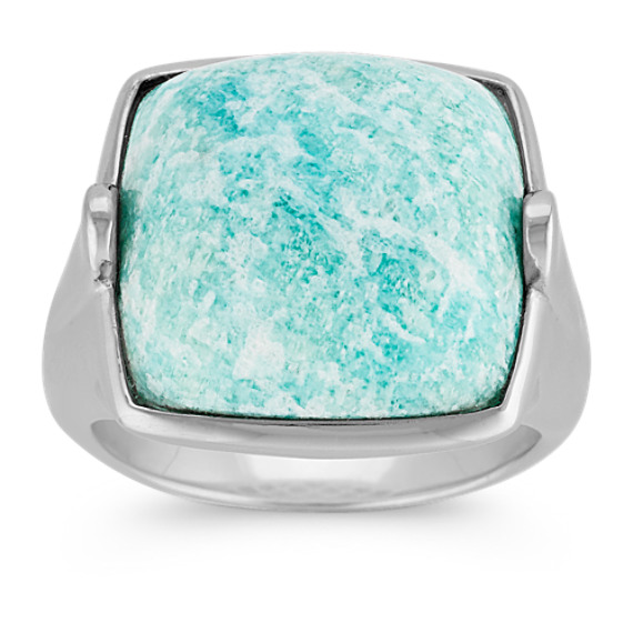 Green Amazonite and Sterling Silver Ring