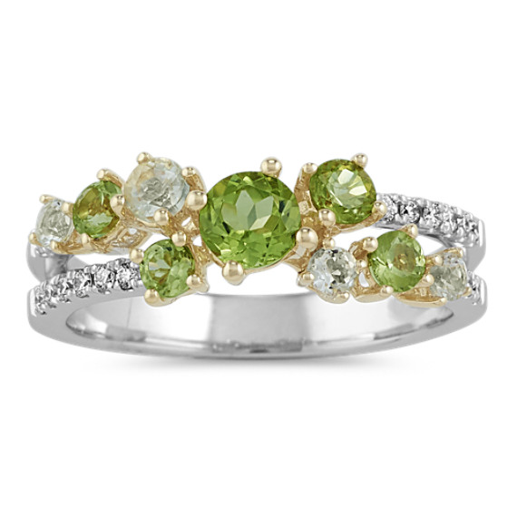Green Quartz, Peridot and Diamond Ring