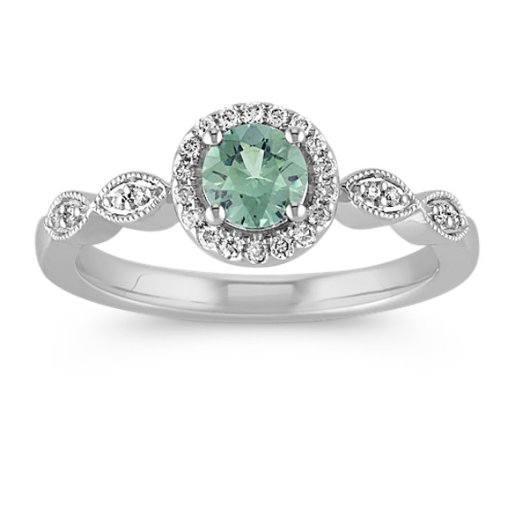 Green Sapphire Halo Diamond Fashion Ring