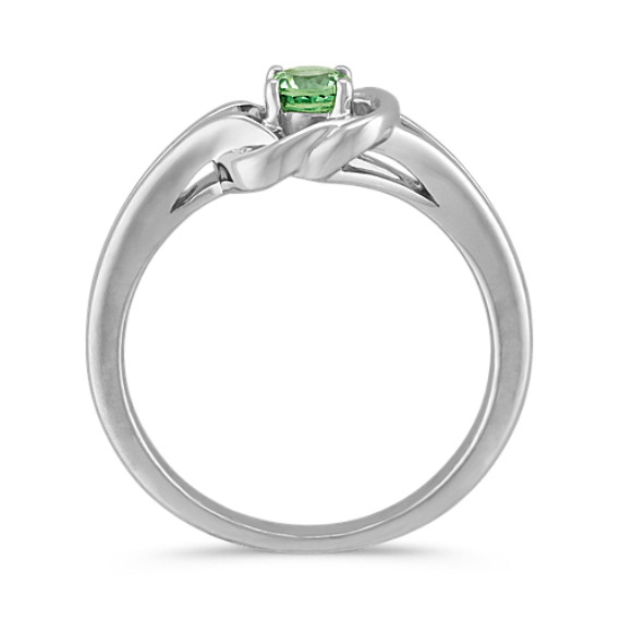 Green Sapphire Knot Ring in Sterling Silver image