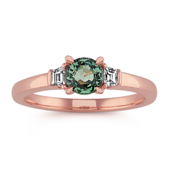 Green Sapphire and Diamond Ring in 14k Rose Gold
