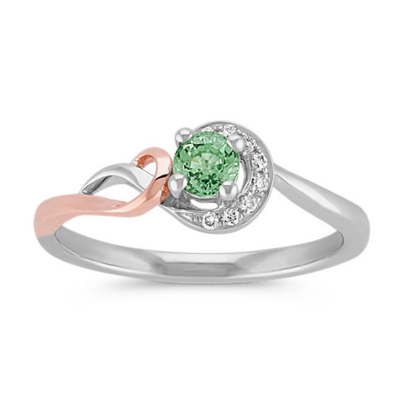 Green Sapphire and Diamond Spiral Ring in Sterling Silver and 14k Rose Gold