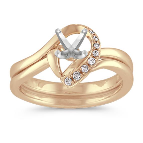 Half Heart Swirl Diamond Wedding Set with Pave Setting in Yellow Gold