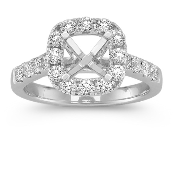Halo Cathedral Engagement Ring with Pave-Set Diamonds