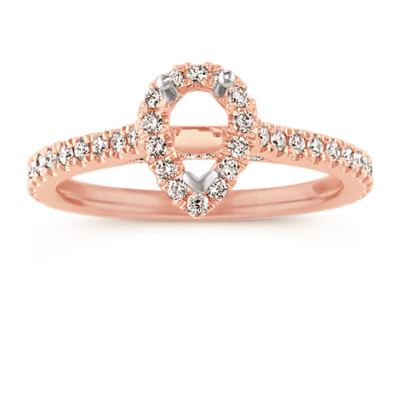 Halo Diamond Engagement Ring for 0.50 Carat Pear-Shape in 14k Rose Gold