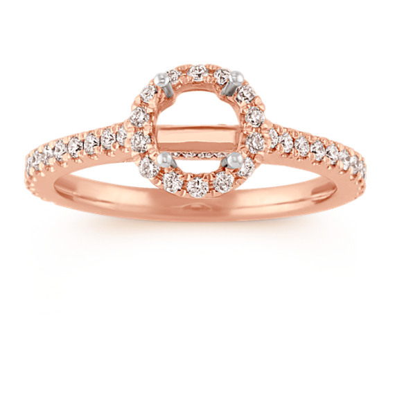 Halo Diamond Engagement Ring for 0.75 Carat Round in 14k Rose Gold