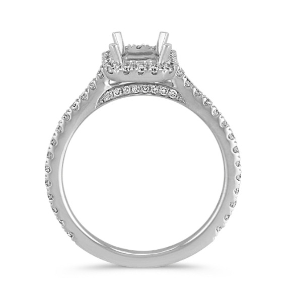 Halo Diamond Engagement Ring for 1.00 Carat Emerald Cut image