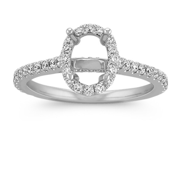 Halo Diamond Engagement Ring for 1.00 Carat Oval