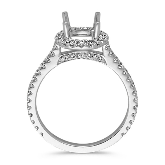 Halo Diamond Engagement Ring for 1.25 Carat Round in 14k White Gold image