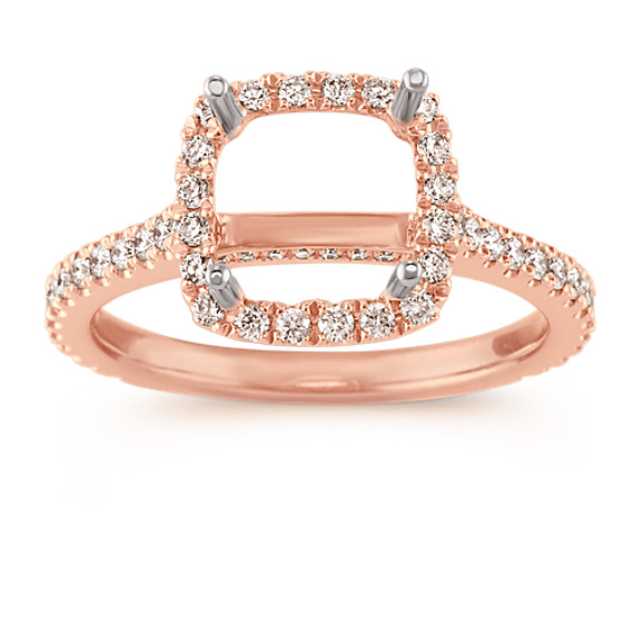 Halo Diamond Engagement Ring for 2.00 Carat Cushion Cut in 14k Rose Gold