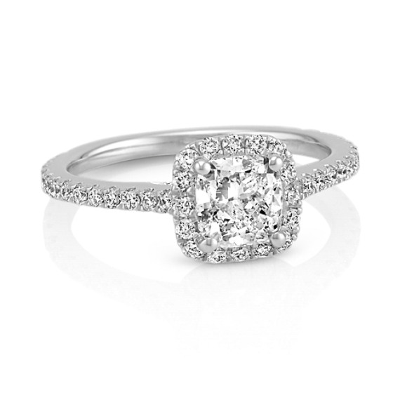 Halo Diamond Engagement Ring For 2 00 Carat Cushion Cut Shane Co