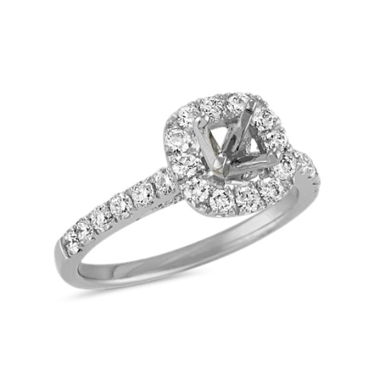 ee3a31a3e90 Halo Diamond Engagement Ring with Pave-Set Round Diamonds