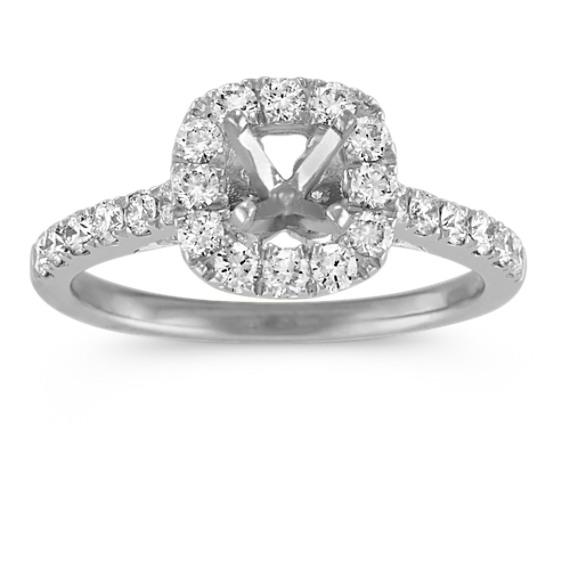 Halo Diamond Engagement Ring with Pave-Set Round Diamonds