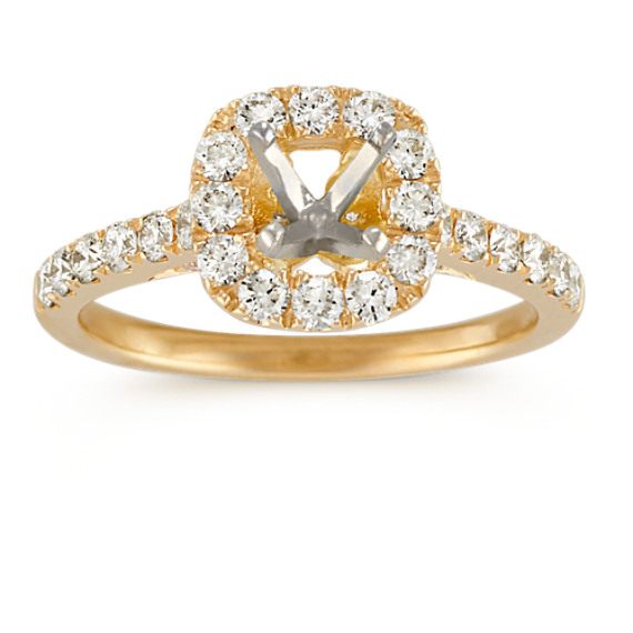 Halo Diamond Engagement Ring with Pave Setting