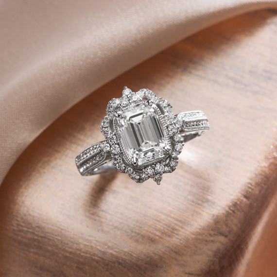 Halo Diamond Vintage Engagement Ring In White Gold Shane Co
