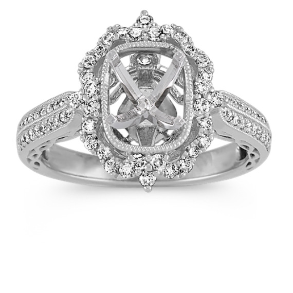 Halo Diamond Vintage Engagement Ring in White Gold