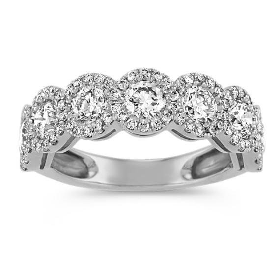 Halo Diamond Wedding Band in 14k White Gold