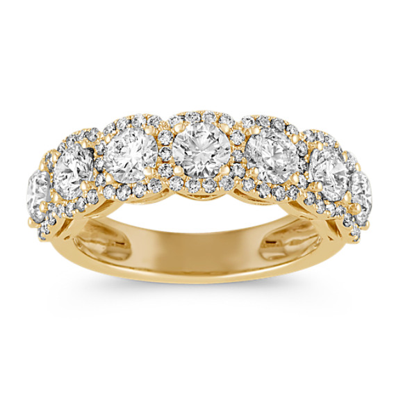 Halo Diamond Wedding Band in 14k Yellow Gold