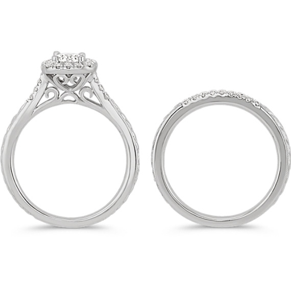 Halo Diamond Wedding Set with Engraving image