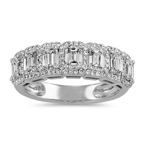 Halo Emerald Cut & Round Diamond Wedding Band