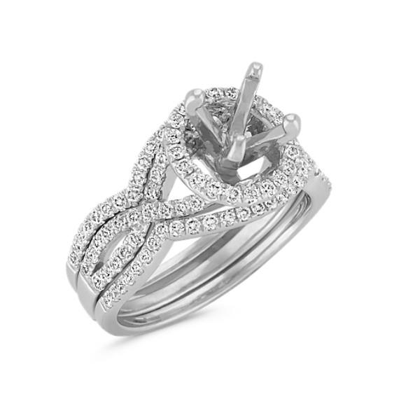 Halo Infinity Diamond Triple Band Wedding Set with PaveSetting