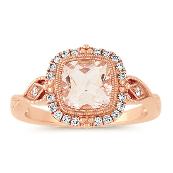 Halo Morganite and Diamond Ring in Rose Gold