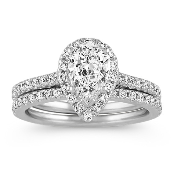 Halo Pear-Shaped and Round Diamond Wedding Set