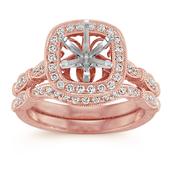 Halo Vintage Rose Gold Diamond Wedding Set with Pave Setting